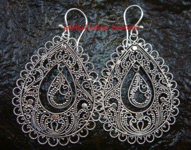 Sterling Silver Ornate Filigree Dangle Earrings SE-191-KT