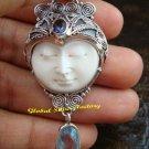 Sterling Silver Blue Topaz Goddess Pendant GDP-1125-PS