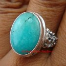 Sterling Silver Oval Turquoise Frangipani Flower Ring RI-371-KT