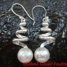 Sterling Silver & Freshwater Pearl Spiral Earrings ER-652-KT