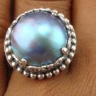 Large 925 Silver Round Mabe Pearl Ornate Design Ring RI-388-KT