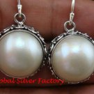 Bali Design Freshwater Mabe Pearl Sterling Silver Earrings  ER-651-KT