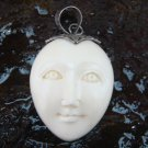 Hand Made Sterling Silver Moon Face Carved Bone Pendant GDP-1152-KA