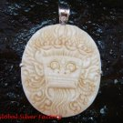 Sterling Silver Carved Ox Bone Bali Barong Pendant SP-644-KA