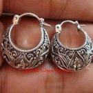 Sterling Silver Bali Ornate Design Hoop Earrings SE-198-KT