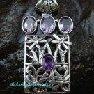 925 Silver Rectangle Amethyst Bali Designer Pendant SP-533-KT