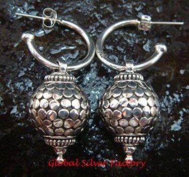 Sterling Silver Heavy Circle Design Hoop Earrings SE-199-KT