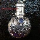 Sterling Silver  Ornate Cremation /Perfume Pendant Amethyst PP-387-KT