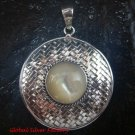 Large 925 Silver Bamboo/ Braided Design Pendant White Shell SP-643-KT
