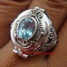 925 Silver Blue Topaz Poison Ring LR-628-KT