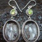 Sterling Silver Clear Quartz Crystal Earrings Peridot ER-639-KT