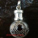 New Model 925 Silver Bali Ornate Cremation Pendant w/Garnet PP-384-KT