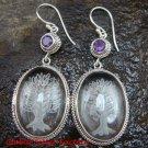 Sterling Silver Clear Quartz Crystal Earrings Amethyst ER-640-KT