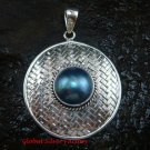 Large 925 Silver Bamboo/ Braided Design Pendant Blue Pearl SP-640-KT
