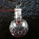 Sterling Silver  Ornate Cremation /Perfume Pendant Garnet PP-388-KT