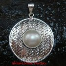 Large 925 Silver Bamboo/ Braided Design Pendant Pearl SP-639-KT