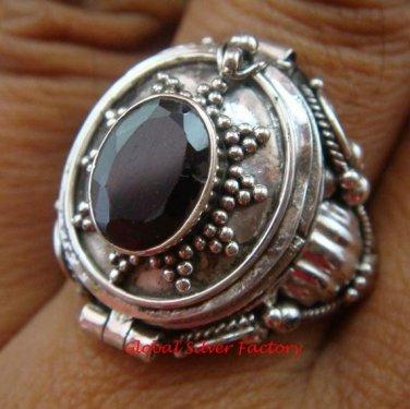 Sterling Silver Bali Poison Locket Ring w/Garnet LR-631-KT