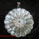 2 Inch Engraved Sea Shell Sunflower Pendant in 925 Sterling Silver SP-638-KT