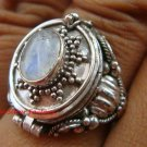 Sterling Silver Bali Poison Locket Ring w/Rainbow Moonstone LR-632-KT