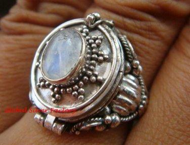 Sterling Silver Bali Poison Locket Ring w/Rainbow Moonstone LR-632-KT