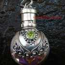 Sterling Silver  Ornate Cremation /Perfume Pendant Peridot PP-391-KT