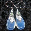 Silver Peridot & Opalite Teardrop Earrings SJ-114-KT