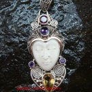 Unique Sterling Silver Bali Traditional Face Pendant w Mixed Gem GDP-1145-PS