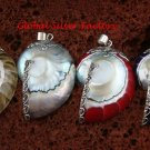 4x Wholesale 925 Silver Natural Nautilus Shell Pendants - Assorted Colour SSB-336-GSF