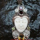 Unique Sterling Silver Bali Traditional Face Pendant w Mixed Gem GDP-1146-PS