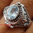 925 Silver Balinese Keepsake Poison Locket Ring Blue Topaz LR-638-KT