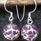 925 Silver Filigree Purple Chime Ball Earrings CBE-104a-KA