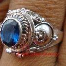 925 Silver Blue Sapphire Locket Ring LR-652-KT