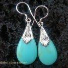 925 Silver Synthetic Turquoise Teardrop Earrings SJ-150-KT