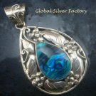 Silver Flower and Leaf Paua Shell Pendant SP-747-KT