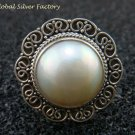 Sterling Silver White Mabe Pearl Cocktail Ring RI-403-KT