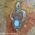 Silver and Turquoise Coiled Snake Pendant SP-784-KT