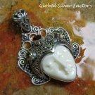 Silver and Mixed Gemstone Naya Goddess Pendant GDP-1287-PS