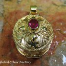 22k Gold Plated Synthetic Ruby Locket Pendant GPP-111-KT