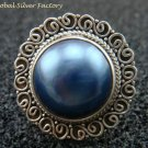 Sterling Silver Ornate Mabe Pearl Ring RI-403-KT