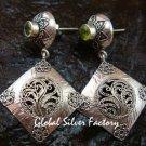Ornate Sterling Silver & Peridot Bali Designer Earrings ER-674-KT