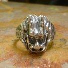 Sterling Silver Lion Head Mens Ring, Unisex Ring SR-214-KA
