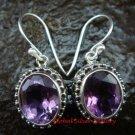 Sterling Silver Oval Amethyst Bali Earrings ER-607-KT