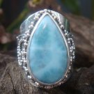 Large Sterling Silver & Natural Larimar Gemstone Ring RI-482-KT
