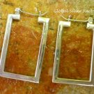 Sterling Silver Rectangle Hoop Earrings SE-256-KA