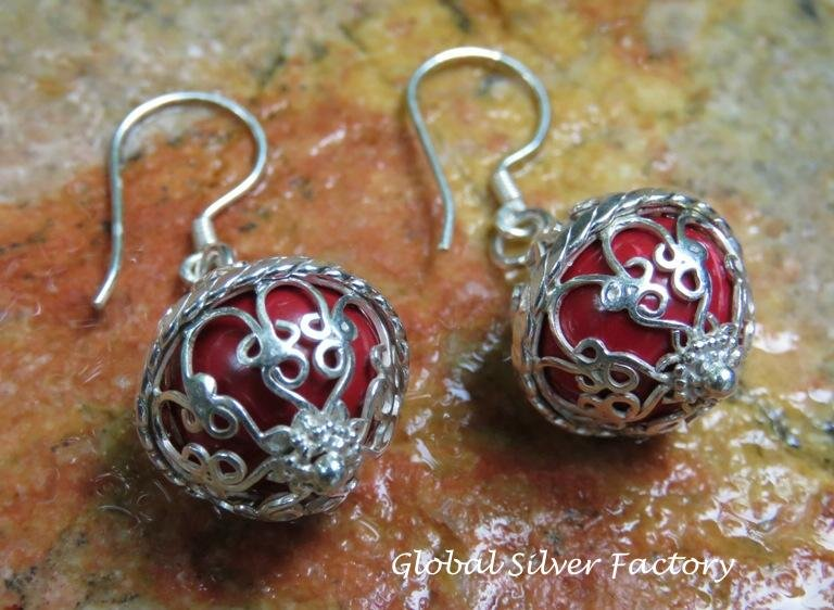 Sterling Silver Red Chime Ball Earrings CBE-156-KT
