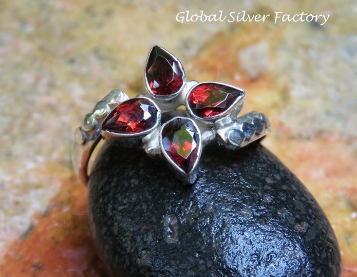 Sterling Silver and Garnet Gemstone Ring RI-607-KA