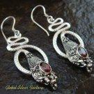 Silver Garnet Snake Earrings ER-567-NY