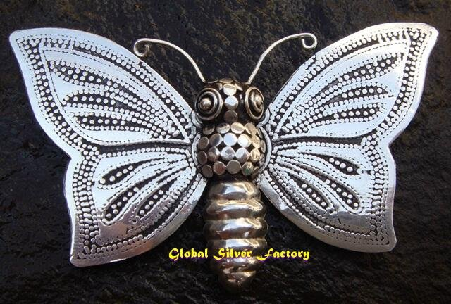 Sterling Silver Butterfly Engraved Pin Pendant BC-168-KT