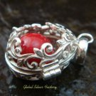 Red Flower Leaf Harmony Ball Pendant HB-324-KT