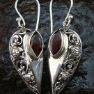 925 Sterling Silver Bali Garnet Designer Earrings ER-588-KT